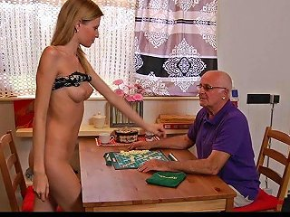 Wild Teen Lets An Older Guy Drill Her Tight Cunt
